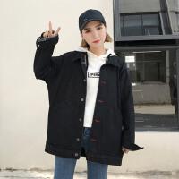 春装2018新款女韩版黑色牛仔外套女宽松显瘦中长款学院风牛仔衣潮