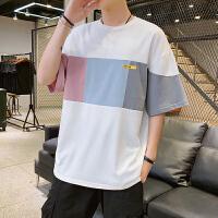t恤短袖男士夏天新款拼色T恤打底衫韩版潮流青少年学生上衣服半袖