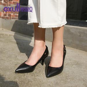 依思q春秋季新款铆钉单鞋细高跟鞋纯色尖头工作单鞋女-