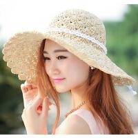草帽女镂空大沿沙滩太阳帽夏天纯手工编织草帽女士可折叠遮阳帽