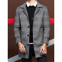 【 品质面料 穿着舒适】双面呢子大衣男中长款韩版2018新款修身羊毛英伦千鸟格子宽松