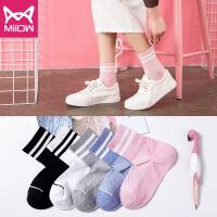 猫人 女中筒袜韩版学院风堆堆袜薄款韩国春秋百搭长袜子潮