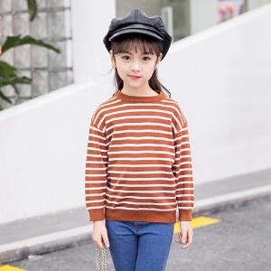 乌龟先森 针织衫 男女童长袖圆领条纹上衣秋季新款韩版儿童时尚休闲舒适百搭中小童毛衣