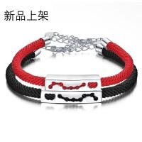 S925纯银编织手绳情侣手链女款红绳男士一对简约个性饰品