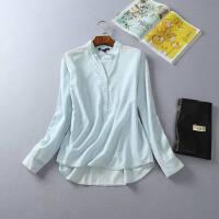 夏装新款女百搭舒适棉质面料显瘦修身款透气立领长袖衬衫1A10
