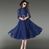 时尚女装秋冬款欧洲站新品显瘦中长款长袖蕾丝大摆打底连衣裙