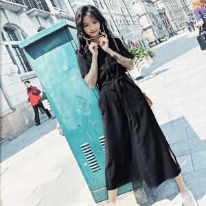 哆哆何伊长裙夏装2018新款韩版sukol裙子少女黑气质显瘦衬衫连衣裙女