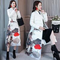 2018冬季印花修身棉袄中国风长款过膝棉衣女装民族风羽绒