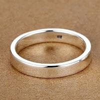 4MM【刻字】99银男士戒指女士情侣对戒光面单身小指尾戒
