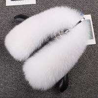 整皮狐狸毛领子皮草围巾围脖真毛女士季黑白羽绒服毛呢外套领子