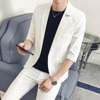 夏季修身中袖休闲西服套装男青年韩版英伦七分袖小西装男发型师潮