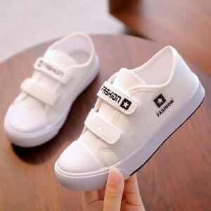 儿童帆布鞋 男女童魔术贴运动鞋春秋季韩版新款低帮纯色小白鞋时尚休闲中大童款式童鞋白色板鞋白球鞋