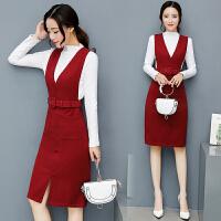 冬装新款背带连衣裙套装秋冬正式场合冬季女装内搭裙子两件套