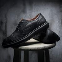 DAZED CONFUSEDU 夏季鞋子英伦布洛克雕花男鞋潮流复古休闲鞋韩版男士皮鞋潮鞋