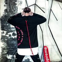 新款嘻哈风外套男个性秋冬高街拉链印花宽松套头个性系绳卫衣打底