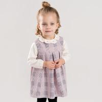 戴维贝拉春装新款女童连衣裙 宝宝粉色格子背心裙DB7048