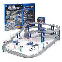 赛道汽车拼装套装男孩儿童合金多层轨道车电动小火车跑道玩具