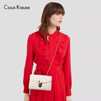 Clous Krause ck包包女包2019新款单肩斜挎洋气牛皮小方包链条包绣线菱格时尚百搭小包