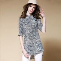 春夏新款女装时尚印花直筒宽松显瘦中长款衬衫衬衣上衣 花色