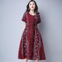 文艺棉麻修身连衣裙夏装新款系带收腰民族风印花短袖中长裙子