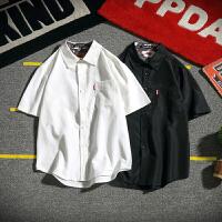 胖人夏季翻领碎花短袖衬衫男士加肥大码纯色休闲半袖衬衣韩版潮流