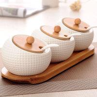 创意简约调味罐三件套厨房陶瓷调味罐调料罐调料瓶调味品罐子套装
