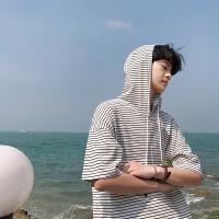 小清新条纹连帽短袖T恤男士时尚潮流韩版港风卫衣短T恤学生体恤