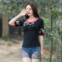 中国风女装半袖T恤女 民族风夏装上衣 圆领刺绣花短袖 纯棉T恤女