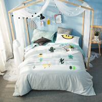 【包邮】伊迪梦家纺 纯棉活性大版花全棉四件套 卡通儿童床上用品学生标准被套200*230cm双人床BY85