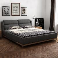 【限时直降 质保三年】现代致家高箱文艺拆洗软包布艺床 C590#1.8米1.6米卧室双人床婚床