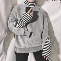 卫衣男春秋款潮流宽松学生韩版冬季加绒加厚高领套头港风chic外套