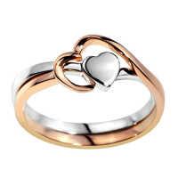 梦克拉 18K金戒指玫瑰金一款多带心形戒指 爱的乐园