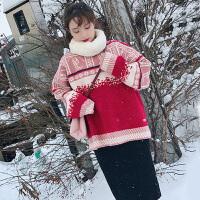2018春装新款女装毛衣配裙子两件套港味小个子针织时髦套装裙冬潮 雪花红色毛衣针织半身裙