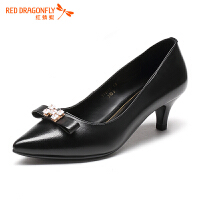 红蜻蜓女鞋单鞋2018夏新款浅口工作尖头百搭高跟鞋
