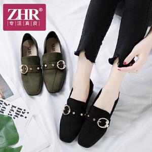ZHR2018春季新款浅口单鞋粗跟休闲鞋方头高跟鞋珍珠鞋子方跟女鞋K37