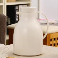 欧润哲 简约白色1L玻璃内胆保湿壶家用 时尚手按式双层暖壶水壶