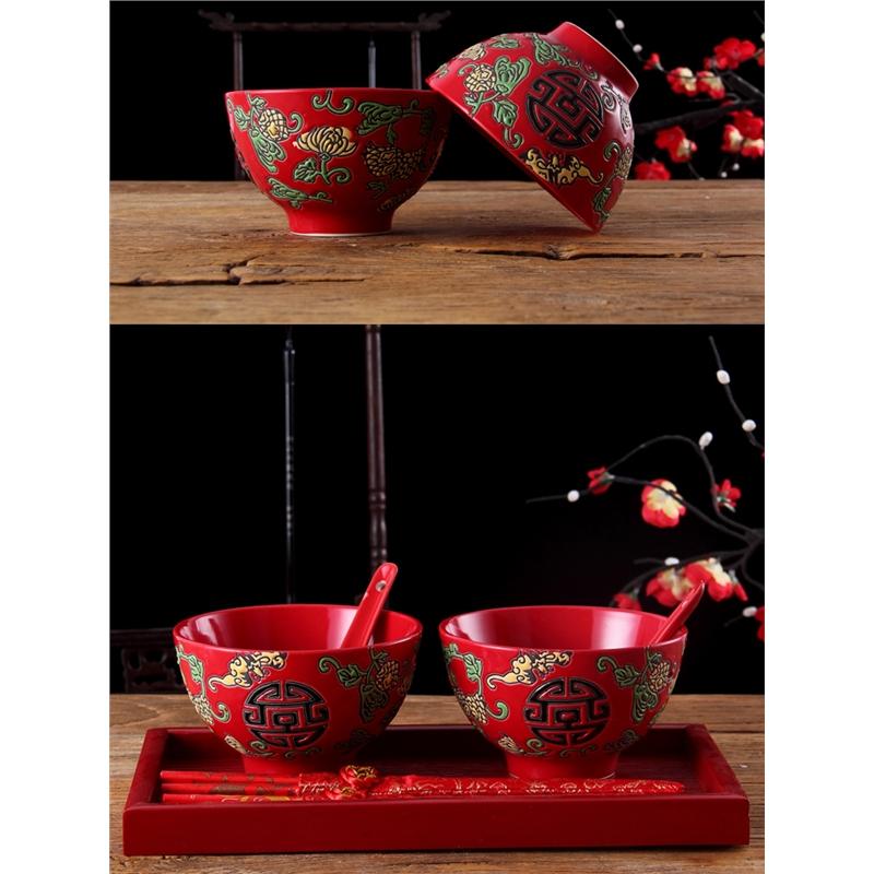 中式红色陶瓷结婚吃饭碗情侣对碗婚庆嫁妆礼物伴娘礼品碗筷勺套装