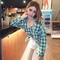 2018春季新款韩版时尚格子长袖单排扣衬衣+打底吊带背心两件套装