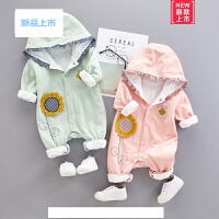 春秋外出新生儿衣服冬装女宝宝连体衣卫衣纯棉服婴儿衣服保暖爬服
