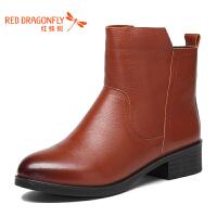 红蜻蜓女靴新款真皮粗跟优雅短靴女时尚加绒保暖职业女鞋