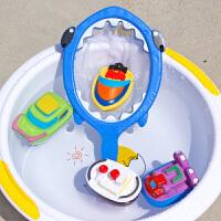 宝宝洗澡玩具小猫捞鱼儿童戏水玩具洗澡漂浮软胶喷水捏捏叫男女孩 鲨鱼网捞+4只喷水小船 送水枪+黄鸭