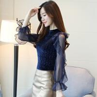 打底衫女长袖秋冬百搭性感韩版蕾丝学生金丝绒拼接雪纺衫气质上衣 蓝色