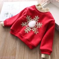 圣诞新年款女童加厚卫衣儿童宝宝加绒套头绒衫2019秋冬新款 红色 90cm