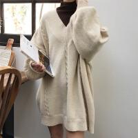 时尚韩版学院风百搭复古纯色女装加厚套头毛衣长袖针织衫连衣裙潮