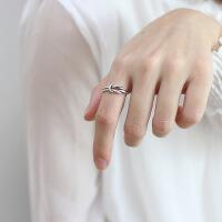 ?韩版S925纯银打结开口素银戒指复古粗双层绳索打结情侣食指戒指女 白金色