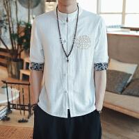 中国风男装亚麻衫衬男盘扣棉麻男衣潮男衬衫七分袖半袖复古风刺绣
