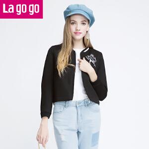 Lagogo冬季新款印花纯色百搭短款外套女韩版潮长袖夹克纯色上衣