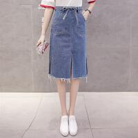 a字裙半身裙中长款2018新款毛边系腰带显瘦高腰包臀牛仔开叉裙