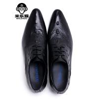 米乐猴 潮牌超个性英伦风潮男鞋子尖头系带鸵鸟纹皮鞋尖长款商务正装单鞋蓝色男鞋