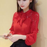 2018新款2018夏装新款韩版雪纺衫长袖大码女装百搭显瘦蕾丝打底雪纺衬衫女 红色蝴蝶结带子自己打 不加绒的薄款的 2